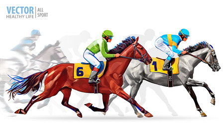 Five racing horses competing with each other, with motion blur to accent speed. Vector illustration