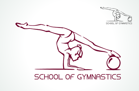 Creative silhouette of gymnastic girl. Art gymnastics dancing woman. Vector Illustration. Logo. Çizim
