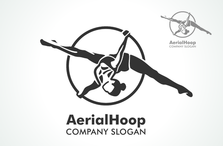 Woman hanging in aerial ring, isolated on white. Aerial hoop line art. Dance and fitness. Dance Studio. Sport. Vector Illustration. Logo. Çizim