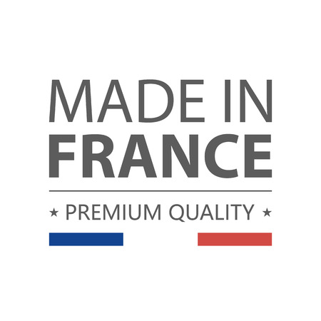 Icon. Made in France. Premium quality. Label with french flag. Vector illustration. Isolated on white background. Vector Illustration. Logo.