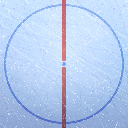 Vector of ice hockey rink. Textures blue ice. Ice rink. Ice hockey stadium. Figure of the playing field. The Central circle and the point of the throw. Hockey arena. Vector illustration background Illustration