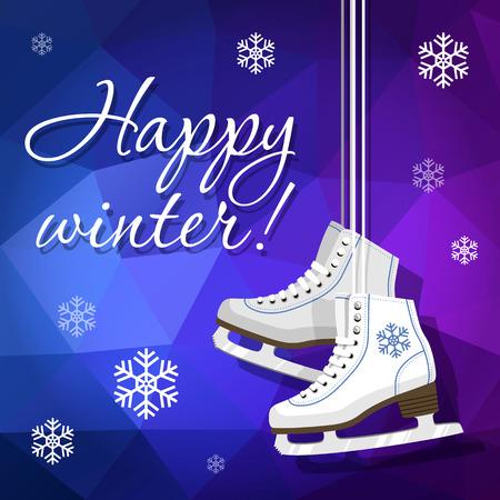 Paire de patins à glace blancs. Patins d'art. Patins à glace pour femmes accrochés aux lacets. Fond d'illustration vectorielle.