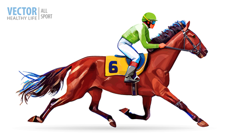 Jockey on horse. Champion. Horse racing. Hippodrome. Racetrack. Jump racetrack. Horse riding. Racing horse coming first to finish line. Vector illustration. Stok Fotoğraf - 86634080