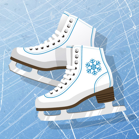 Pair of white Ice skates. Figure skates. Womens ice skates. Texture of ice surface. Vector illustration background. Stok Fotoğraf - 86910892