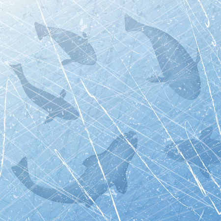 Winter fishing. Ice-fishing. Winter with fish. Fish set. Texture of ice surface. Overhead view. illustration abstract. Çizim