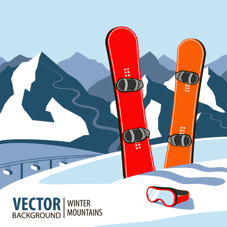 Winter sport objects. Two red snowboards. Mountains in winter season. Vector background. Illustration
