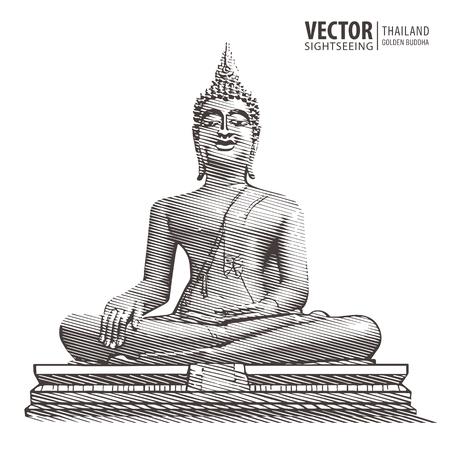 Golden Buddha. Big statue. Hand drawn grunge style art. Thailand. Vector illustration. Çizim