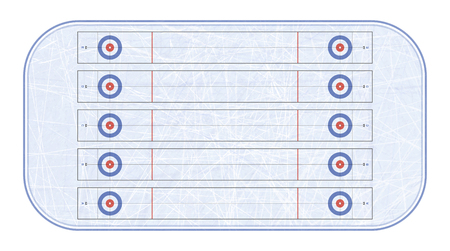 Curling stadium top view. Winter sport. Sport game. Textures blue ice. Ice rink. Vector illustration background.
