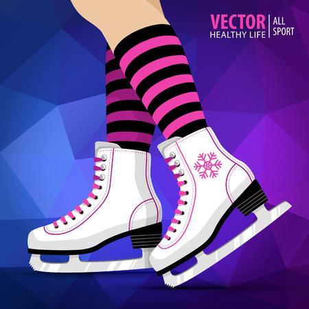 Paar witte schaatsen. Figuurschaatsen. Schaatsen voor dames. Wintersport. Vector illustratie achtergrond.