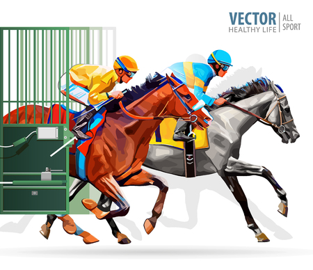 Three racing horses competing with each other, with motion blur to accent speed. Start gates for horse races the traditional prize Derby. Vector illustration.