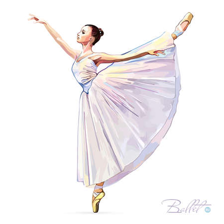 Ballerina. Ballet dancer. Dance girl on white background. Princess. Ballerina girl. The Art of Classical Ballet. Ballet class. Vector illustration. Illustration