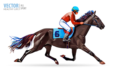 Jockey on horse. Champion. Horse racing. Hippodrome. Racetrack. Jump racetrack. Horse riding. Racing horse. Vector illustration.