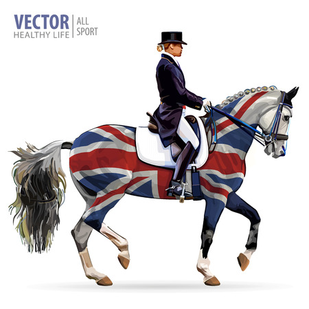 Equestrian sport. Horsewoman jockey in uniform riding horse outdoors. Dressage. Isolated on white background. Jockey on horse. Bay horse. United Kingdom flag. Vector illustration.