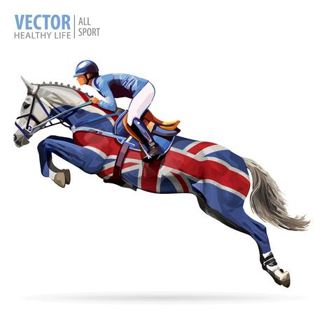 Jockey on horse. Champion. Horse riding. Equestrian sport. Jockey riding jumping horse. Poster. Sport background. United Kingdom flag. Vector illustration.