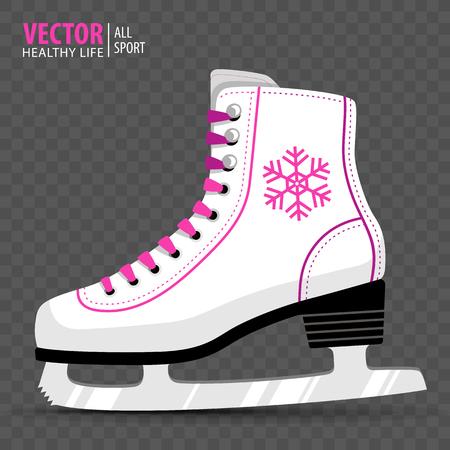 White Ice skate. Figure skating. Womens ice skates. Winter sports. Vector illustration. Transparent background. Banner.