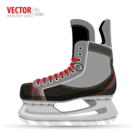 Ice hockey skates, isolated on white background. Vector illustration. Ice hockey boot.