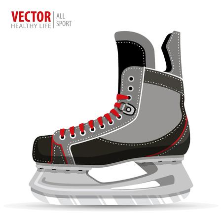 Ice hockey skates, isolated on white background. Vector illustration. Ice hockey boot. Фото со стока - 89412282