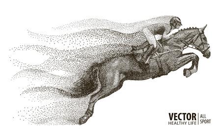 Jockey no cavalo. Campeão. Andar a cavalo. Esporte equestre. Jockey, montando o cavalo de salto. Poster. Fundo do esporte. Composição divergente de partículas. Ilustração vetorial.