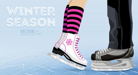 Woman and man ice skating Vector illustration.