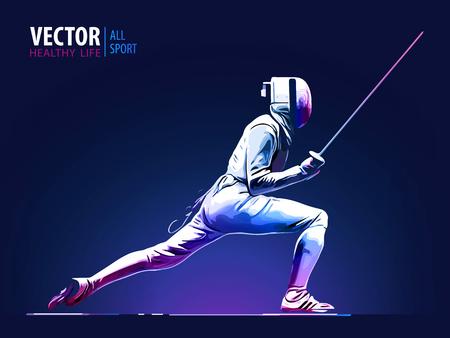 Szermierz mężczyzna ubrany w garnitur szermierczy ćwiczy z mieczem. Arena sportowa i flara soczewki z ilustracji wektorowych efekt seona.