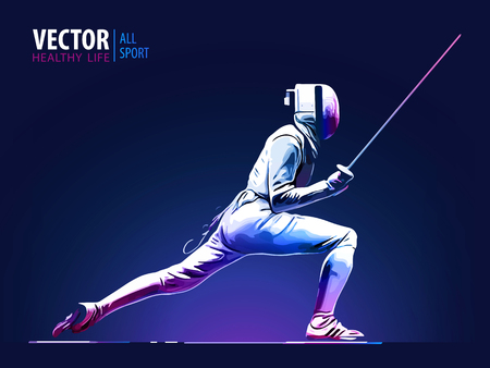 Fencer man wearing fencing suit practicing with sword. Sports arena and lense flare with seon effect vector illustration.