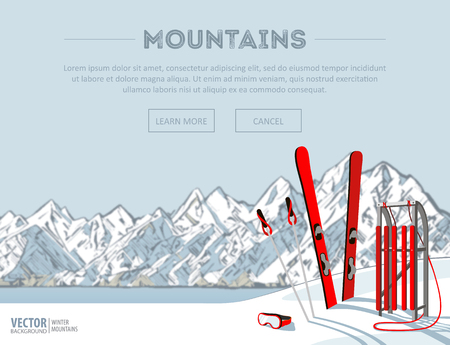Winter sport objects. Red wooden sled and ski. Mountains in winter season. Ski resort season is open. Winter web banner design. Vector background.