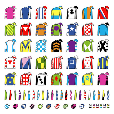 Jockey uniform. Traditional design. Jackets, silks, sleeves and hats. Horse riding. Horse racing. Icons set. Isolated on white. Vector illustration