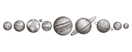 Colección de planetas en el sistema solar. Estilo de grabado Conjunto de ciencia elegante vintage. Geometría sagrada, magia, filosofías esotéricas, tatuaje, arte. Ilustración aislada a mano.