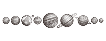 Collection of planets in solar system. Engraving style. Vintage elegant science set. Sacred geometry, magic, esoteric philosophies, tattoo, art. Isolated hand-drawn illustration.