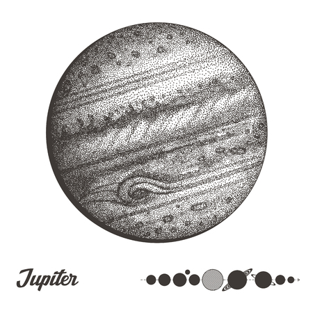 Jupiter. Collection of planets in solar system. Engraving style. Vintage elegant science set. Sacred geometry, magic, esoteric philosophies, tattoo, art. Isolated hand-drawn vector illustration