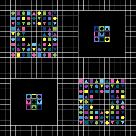 Geometric elements Vector pattern. Hipster fashion style. Pattern of repeating colored squares