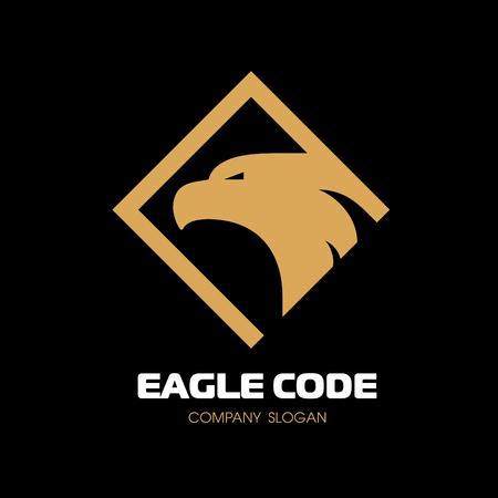 Golden eagle icon. Bird, phoenix. The head in profile. Vector icon template design. Çizim