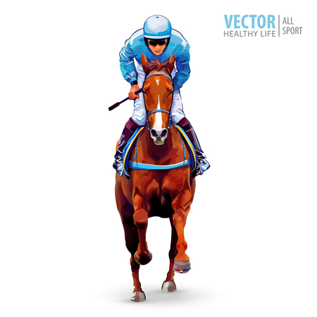 Jockey on horse vector illustration.  イラスト・ベクター素材