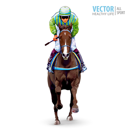 Jockey on horse. Champion. Horse racing. Hippodrome. Racetrack. Jump racetrack. Horse riding. Racing horse coming first to finish line. Isolated on white background. Vector illustration Stock Vector - 93891510