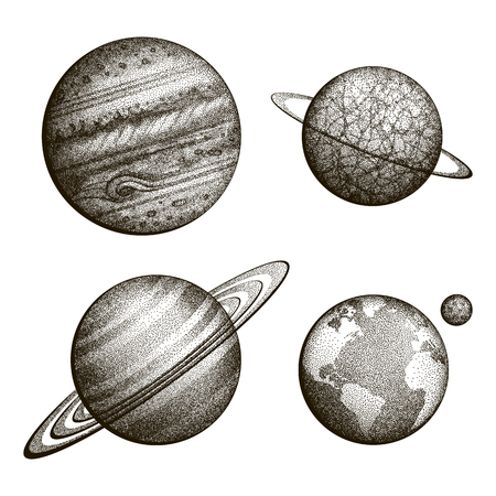 Collection of planets in solar system. Engraving style. Vintage elegant science set. Sacred geometry, magic, esoteric philosophies, tattoo, art. Isolated hand-drawn vector illustration. Çizim