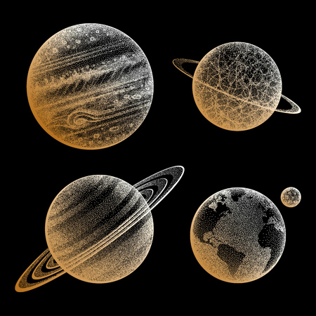 Collection of planets in solar system Vettoriali