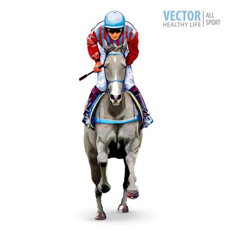 Jinete a caballo Campeón. Las carreras de caballos. Hipódromo. Pista. Salto de la pista. Equitación. Caballo de carreras llegando primero a la meta. Aislado en el fondo blanco Ilustracion vectorial Foto de archivo - 94460020
