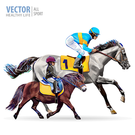 Jockey on horse. Boy riding a pony. Equestrian sport. Riding horse. Champion. Horse racing. Hippodrome. Racetrack. Jump racetrack. Isolated on a white background. Vector illustration.