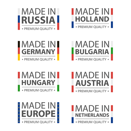 Made in Germany, Russia, Hungary, Holland, Bulgaria, Austria, Nederland and Made in European Union. Premium quality label with flag. Vector illustration. Stock Illustratie