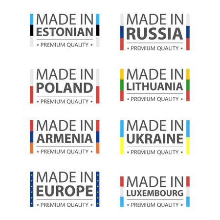 Simple vector logos Made in Estonian, Russia, Polish, Lithuania, Armenia, Ukraine, Luxembourg and Made in European Union. Premium quality. Label with flag. Vector illustration. Çizim