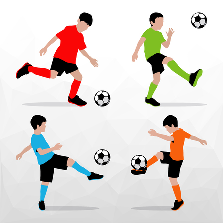 Soccer Players Silhouettes of Kids. Boys in sports form. Football. Vector illustration.