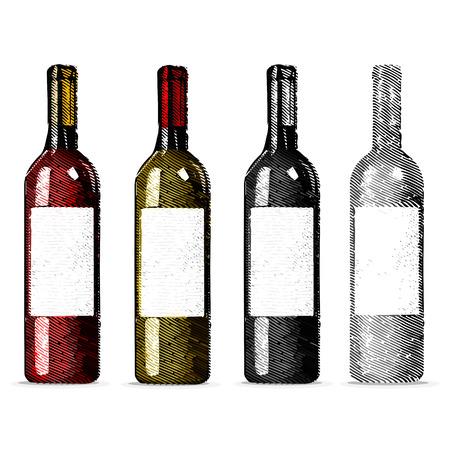 Set wine bottles. Red and white wine bottles on white background. Vector illustration.