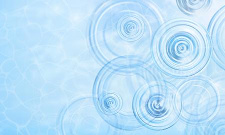 Sommer Hintergrund. Radiale Wellen von einem Regen auf dem Wasser. Textur der Wasseroberfläche. Draufsicht. Kreise und Ringe auf der Pfütze. Vektor-Illustration Natur Hintergrund. Standard-Bild