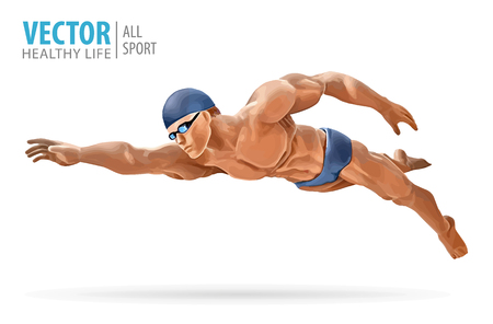 Fit swimmer training. Professional male swimmer. Butterfly stroke. A man dives into the water. Vector illustration.