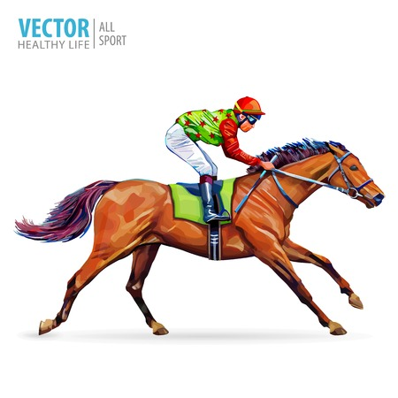 Jockey on horse. Champion. Horse racing. Hippodrome. Racetrack. Jump racetrack. Horse riding. Racing horse coming first to finish line. Isolated on white background. Vector illustration. Ilustracja