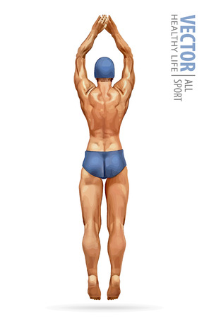 Sport men standing on diving board, preparing to jump and dive. Swimming male. Fit swimmer training in the swimming pool. Dives into the water. Vector illustration Çizim