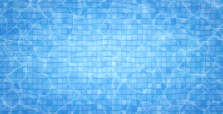 Swimming pool bottom caustics ripple and flow with waves background. Summer background. Texture of water surface. Overhead view. Vector illustration background. Stock Photo