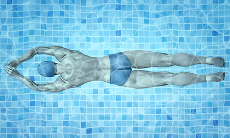 Healthy lifestyle. Fit swimmer training in the swimming pool. Professional male swimmer inside swimming pool. Texture of water surface. Pool water. Overhead view. Vector illustration background