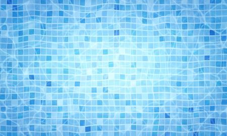 Sommerhintergrund. Bodenkaustiken des Schwimmbades kräuseln sich und fließen mit Wellenhintergrund. Draufsicht. Textur der Wasseroberfläche. Vektorhintergrund.