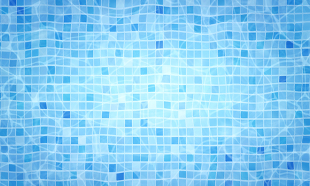 Summer background. Swimming pool bottom caustics ripple and flow with waves background. Overhead view. Texture of water surface. Vector background.